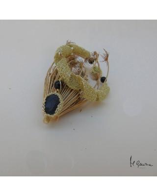 Bracciale in rame dorato e ossidiana