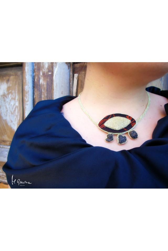 Meravigliosa collana in Broccato Sardo e Lava dell'Etna