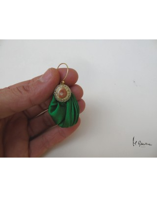 Orecchini Occhio di Santa Lucia e stoffa plissettata