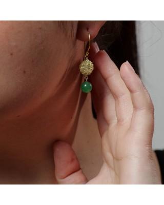 Orecchini pendenti con avventurina verde